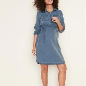Maternity Tencel® Tie-Belt Shirt Dress